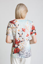 Floral and animal print t-shirt with diamante