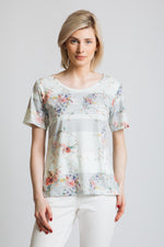 Our classic fit round neck short sleeve t-shirt with pastel stripe and flower print.