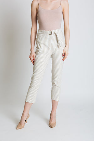 Woven mini stripe in cream and stone , stretch bengaline trousers with easy fit, pull on shape. *Improved fit