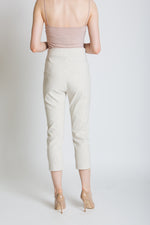 Belted striped cropped trousers