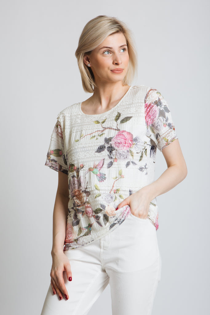 Elegant lace stripe jersey t-shirt with rose print and diamante detail. round neck, short sleeve, classic fit