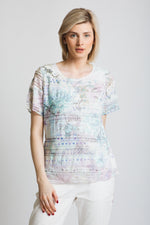 Stunning textural jersey with burn out t-shirt with pretty print and diamante details. Round neck, short sleeve, classic fit