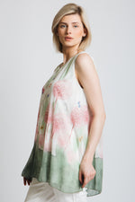 Sleeveless printed floaty top