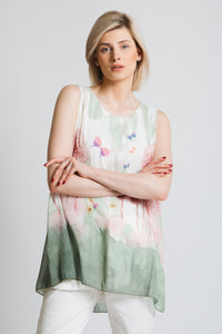 Elegant sleeveless a-line top in floaty chiffon with a beautiful watercolour print.Fully lined. easy wear fit