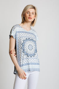 Ornate tile print pattern front shell top and plain jersey back. easy wear fit