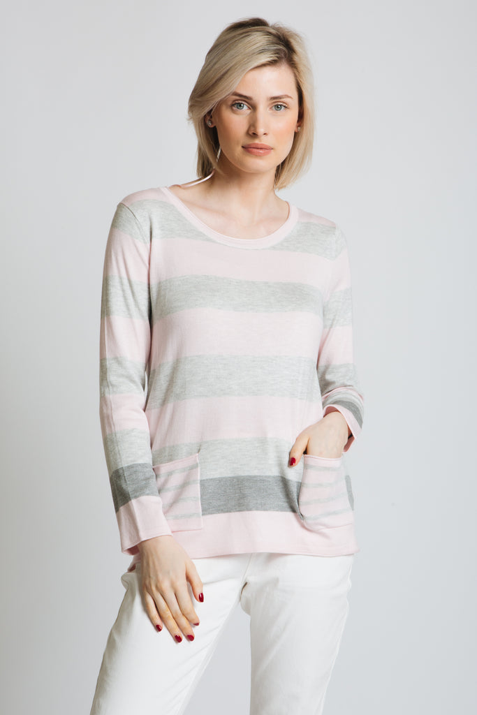 Subtle block stripe sweater with patch pockets at hips. Scoop neck, long sleeve, classic fit.