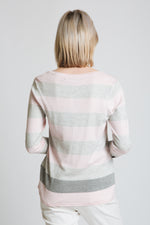 Block stripe sweater with pockets