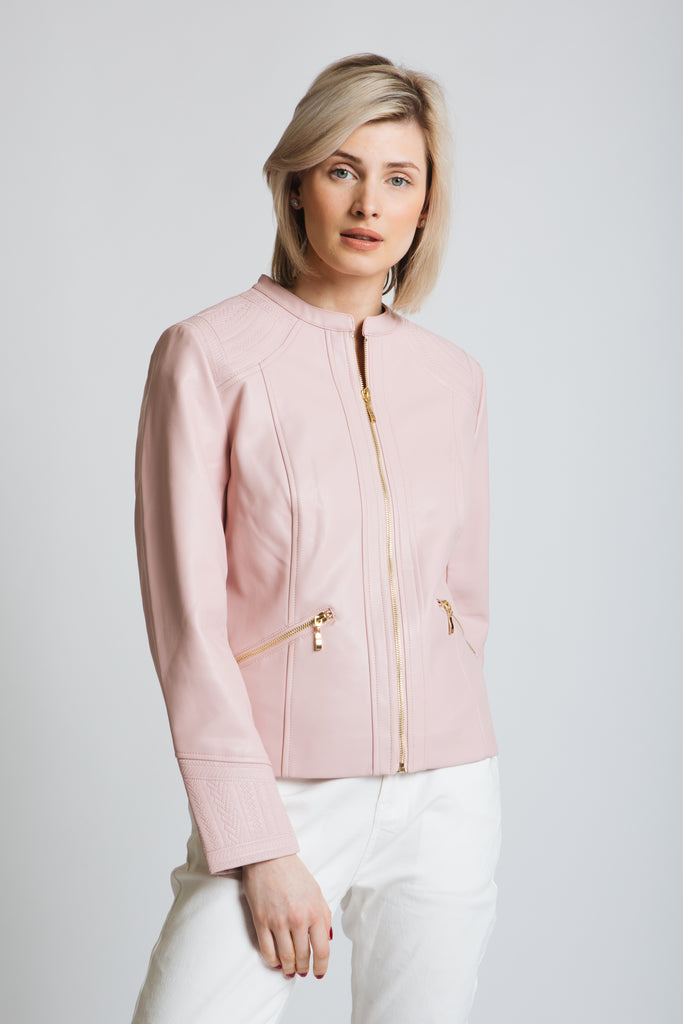 Our summer PU jacket is a special one...beautiful embroidered panels make up this must have item. Classic fit.