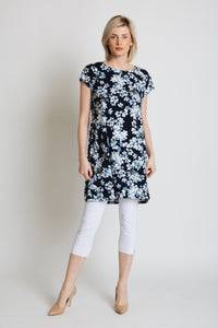 Navy printed tunic in jersey crepe. Drop shoulder with gold button detail.