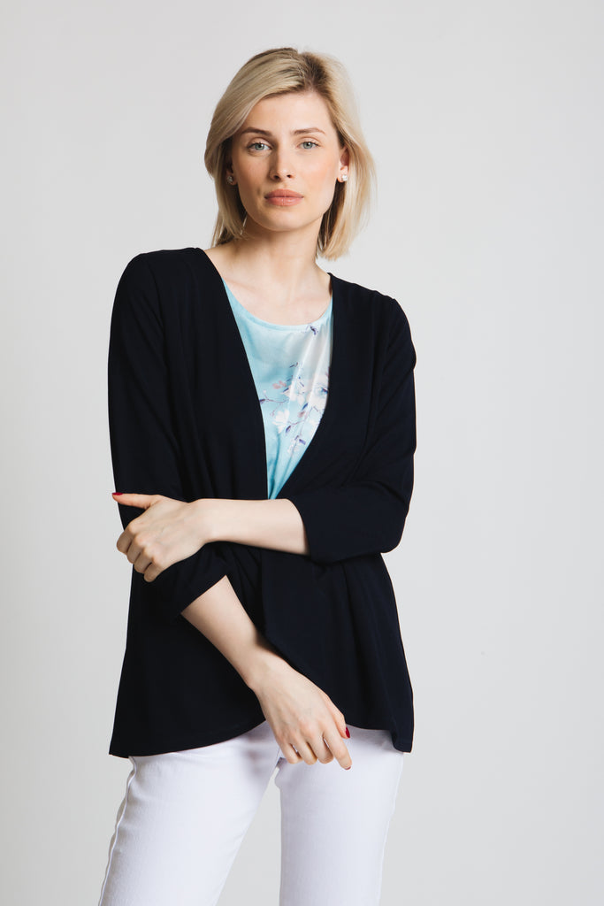 Draped crepe jersey cardigan with printed satin front panel insert. 3/4 sleeve, Classic fit