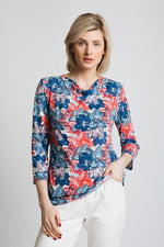Super soft jersey in our fabulous vibrant print. Cowl neck with 3/4 sleeves.