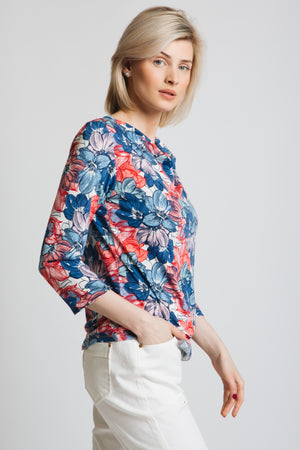 Printed cowl neck jersey top