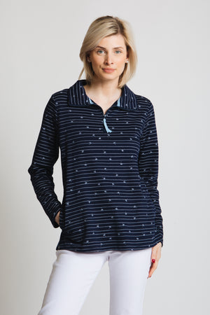 1/2 zip front casual top with our signature Falling dandelion print. long sleeve, regular fit