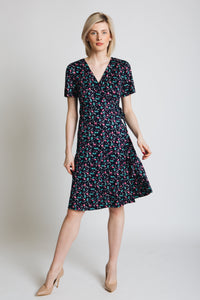 Super soft jersey, in a pretty ditsy print, mock wrap dress with short sleeve