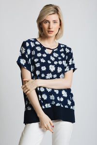 Oversized draped shoulder top with keyhole detail at neck. in our fabulous daisy print chiffon front, and soft stretch jersey back.