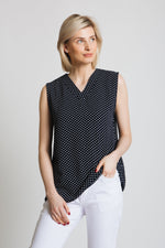 Woven v-neck top with shaped hem and pleat and center front neck. Easy wear.