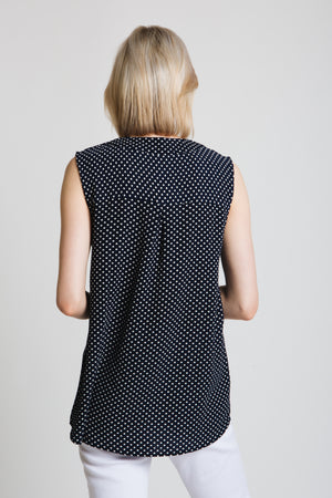 Polka dot pleat front top