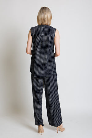 Polka dot wide leg trouser