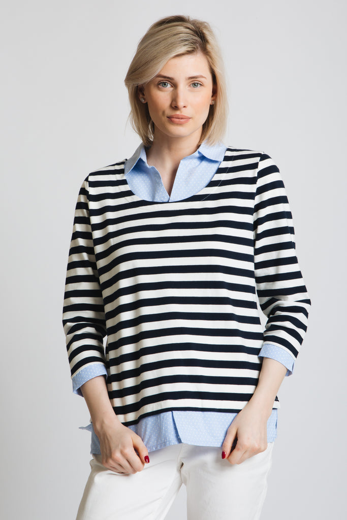 Scoop neck 3/4 sleeve stripe jersey top with spot print chambray shirt collar adn cuff. timeless combination!