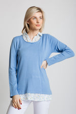 Our trademark chiffon shirt collar and tail sweater. Lovely scoop neck , long sleeve sweater with printed chiffon trim. Standard fit.