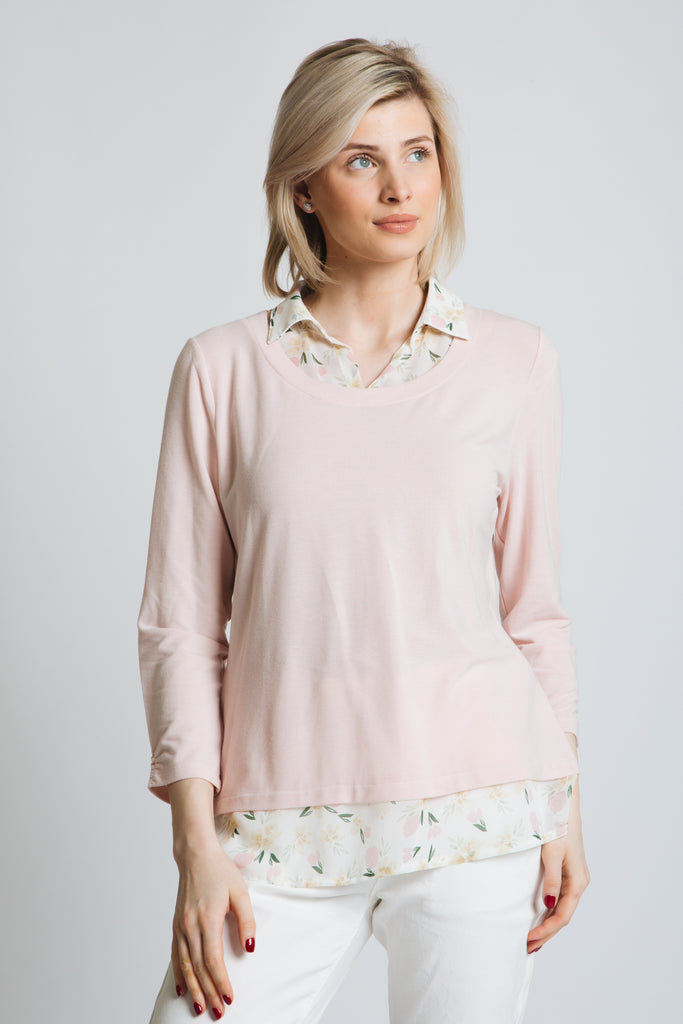 Lovely soft touch jersey top with scoop neck and 3/4 sleeve with ruched detail. Printed chiffon shirt collar and tail trim. Standard fit.