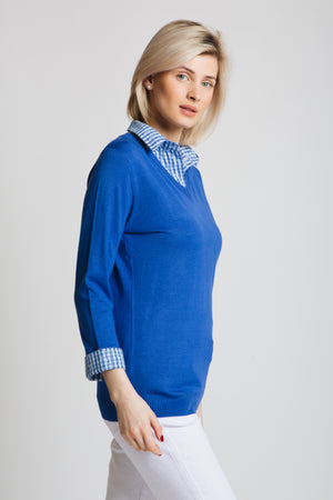 V-neck sweater with printed collar and cuff