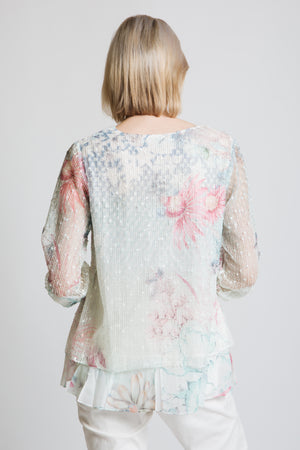 Double layer mesh top in pastel print