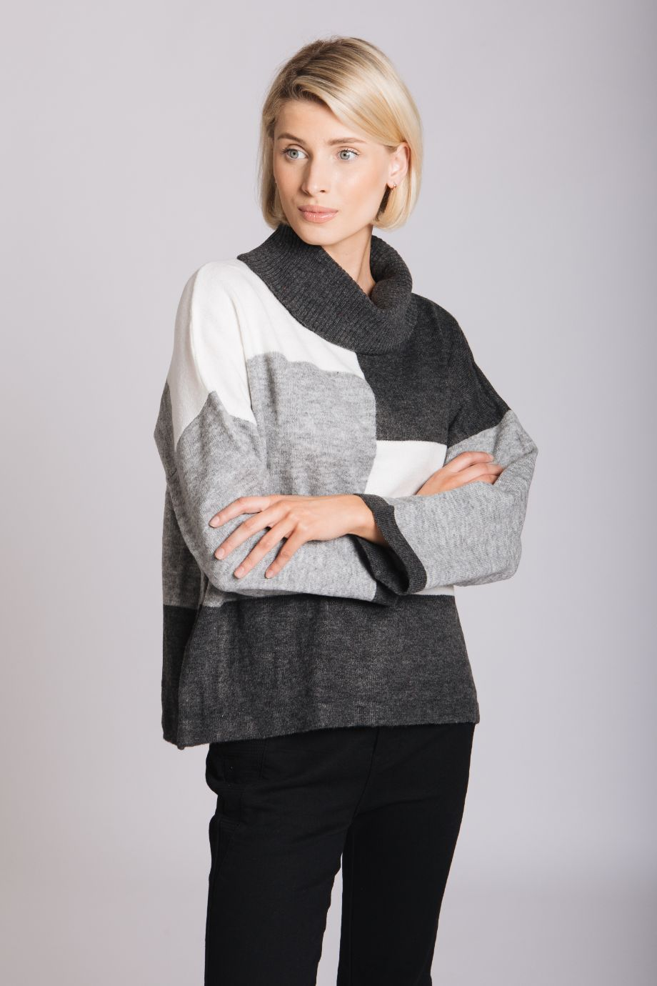 Intarsia Geometric Sweater