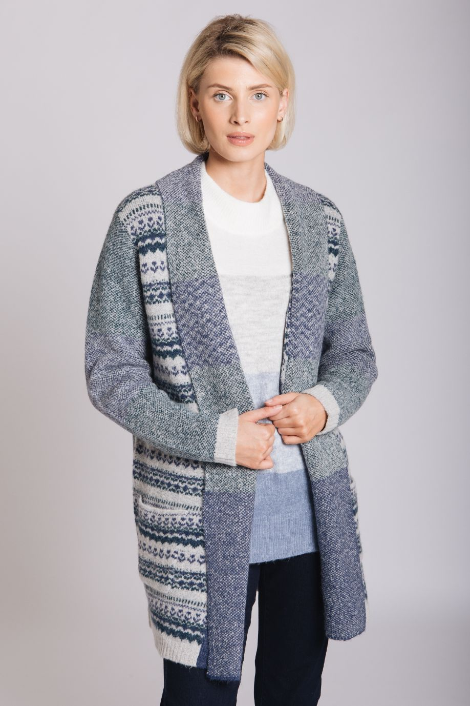 Grey Fairisle Cardigan