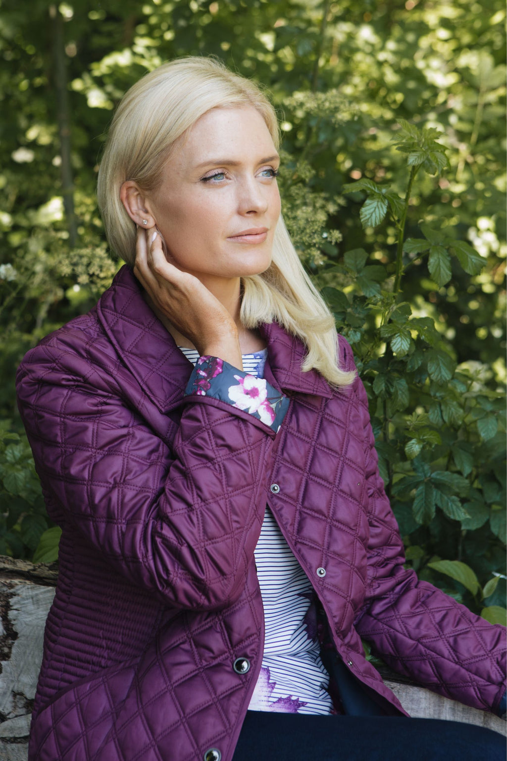 Classic Quilted Jacket with Print Lining