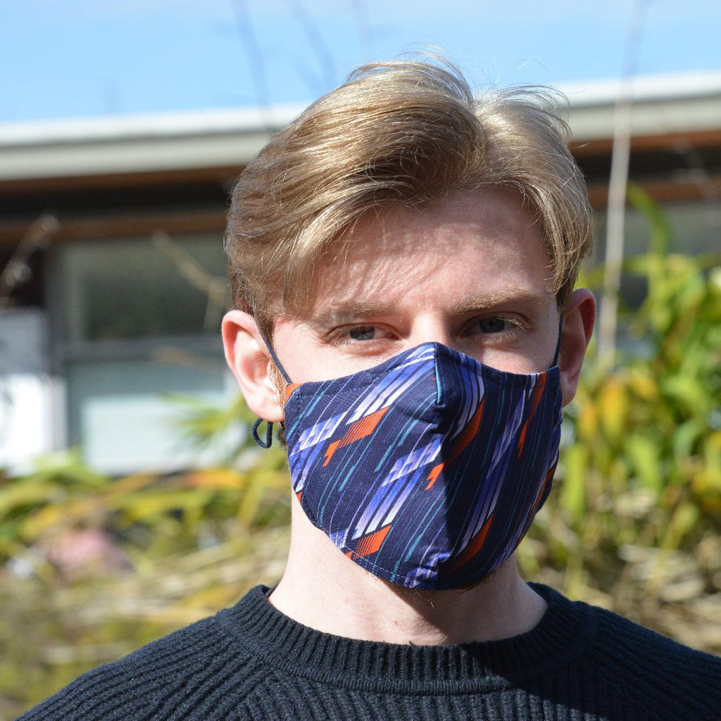 Adults - Navy Graphic - Reusable Barrier Mask