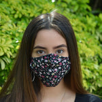 Adults - Black Ditsy - Reusable Barrier Mask