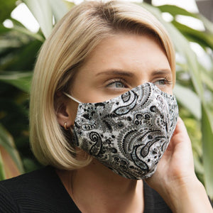 Adults - Black Paisley - Reusable Barrier Mask
