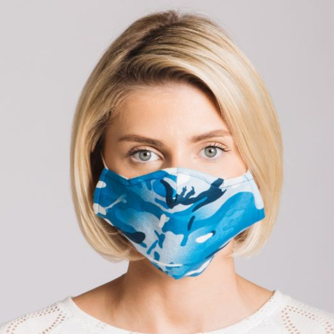 Adults - Blue Camouflage - Reusable Barrier Mask