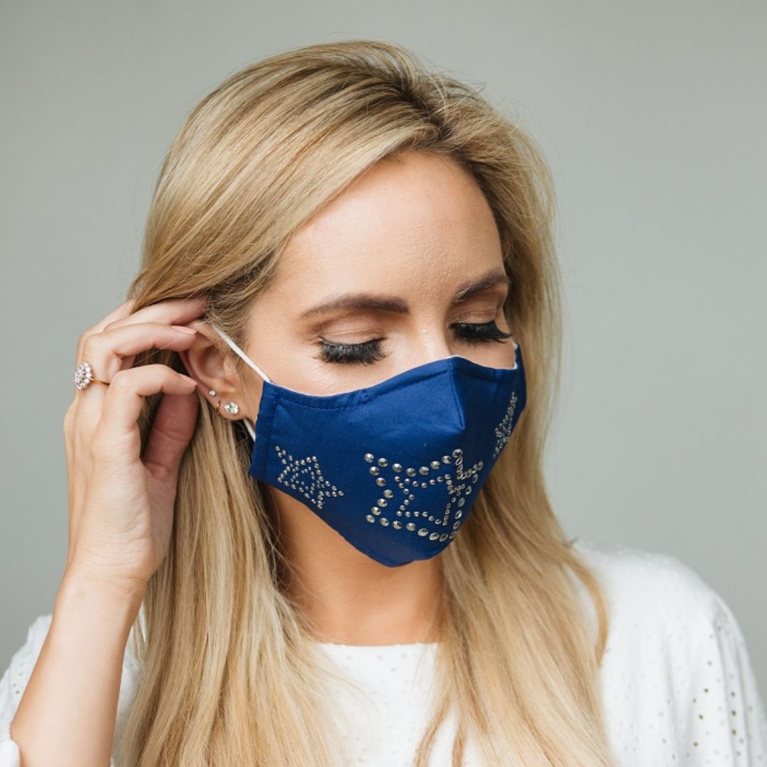 Adults - Blue Star Diamante - Reusable Barrier Mask