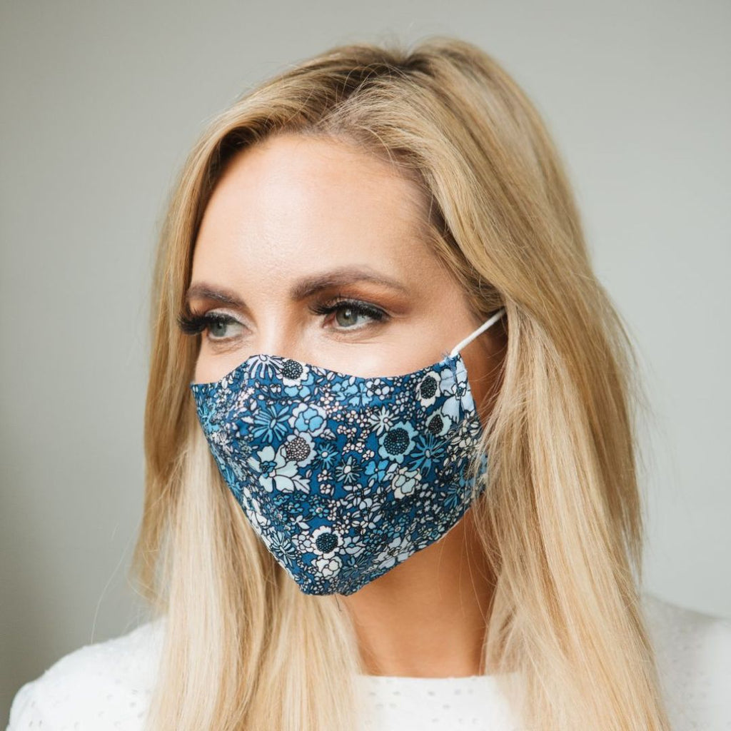 Adults - Denim Retro Floral - Reusable Barrier Mask