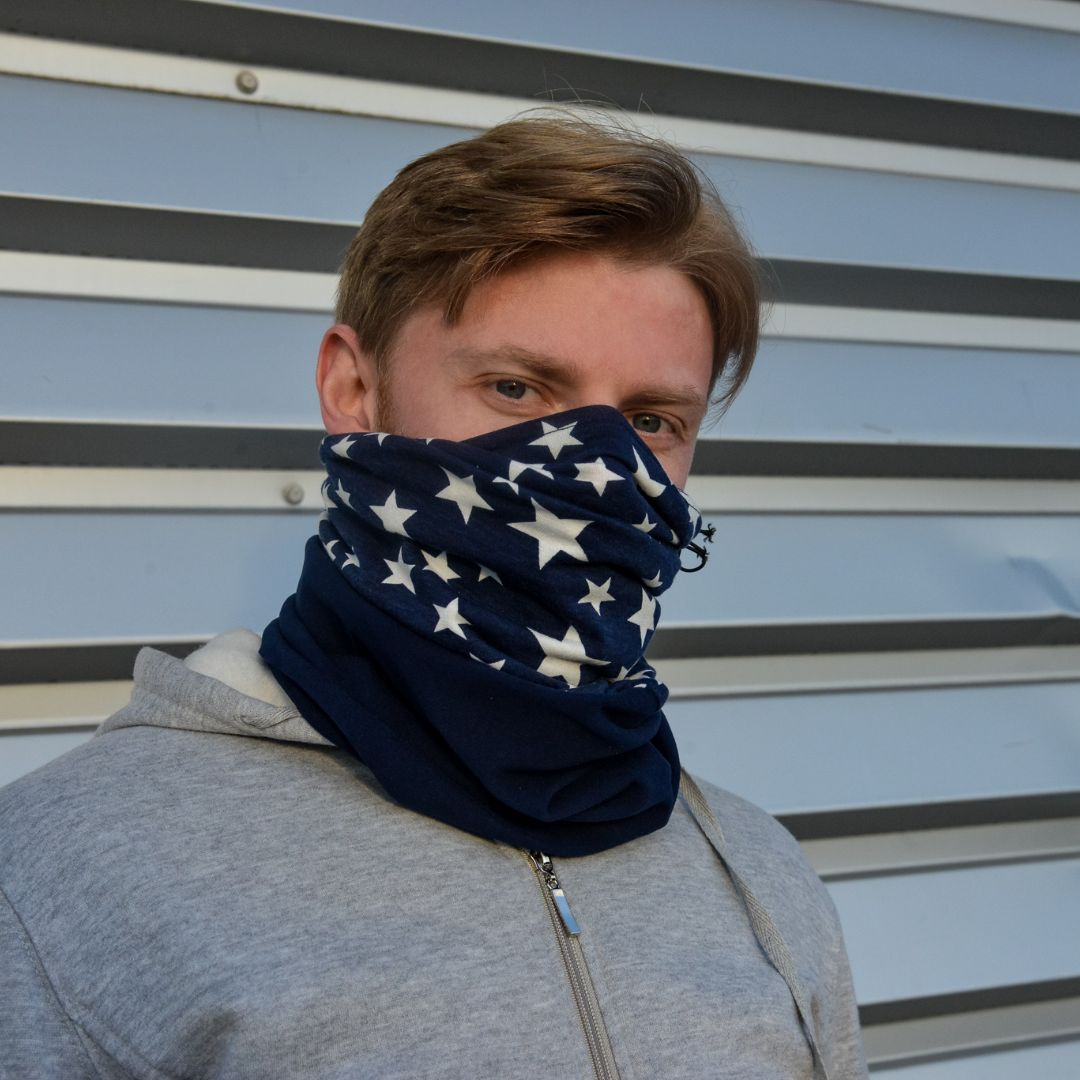 Adults -  Blue Star- Barrier Snood (Jersey & Fleece Combo)