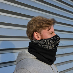Adults -  Black Brocade- Barrier Snood (Jersey & Fleece Combo)