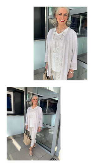 Stone lurex cardigan with pointelle cuff