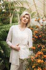 Elegant edge to edge cardigan in stone melange and lurex shimmer. 3/4 sleeve with pointelle detail.