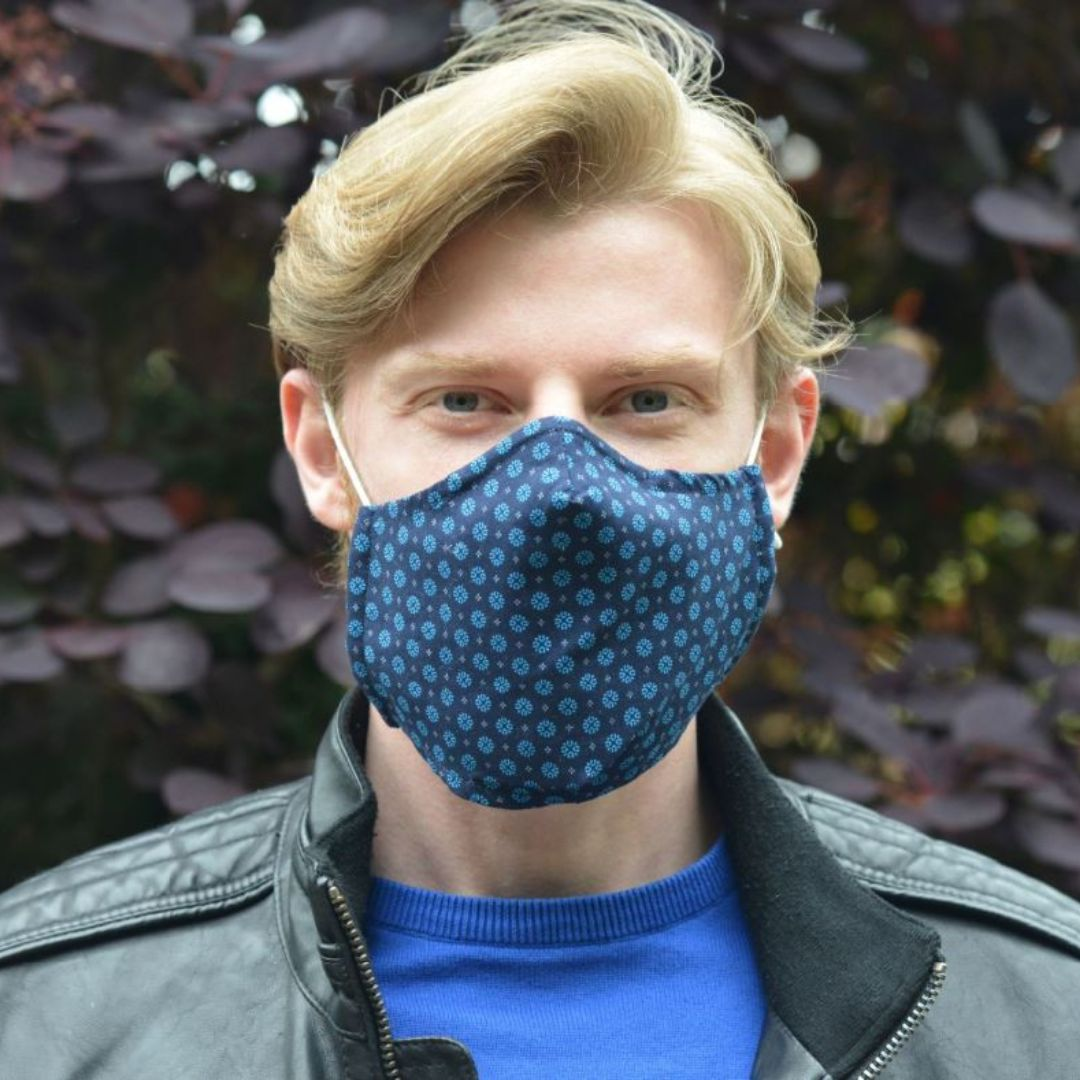 Adults - Navy Clover - Reusable Barrier Mask