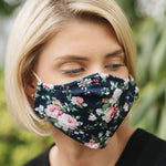 Adults - Navy Floral - Reusable Barrier Mask