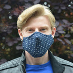 Adults - Navy Geometric - Reusable Barrier Mask