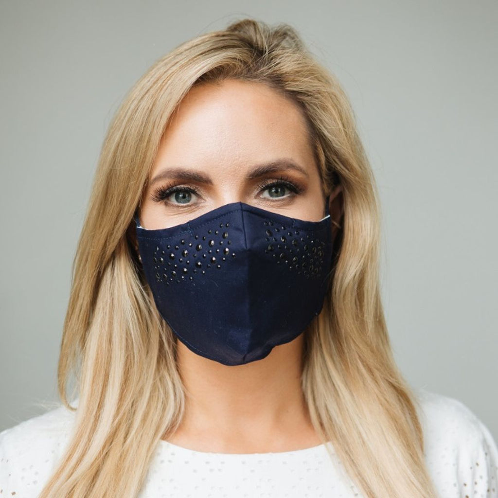Adults - Navy Diamante - Reusable Barrier Mask
