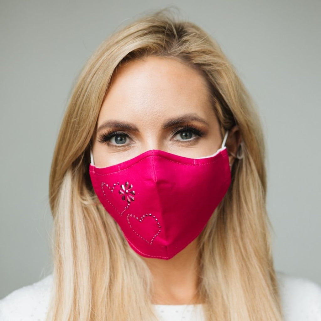Adults - Pink Love Heart Diamante - Reusable Barrier Mask