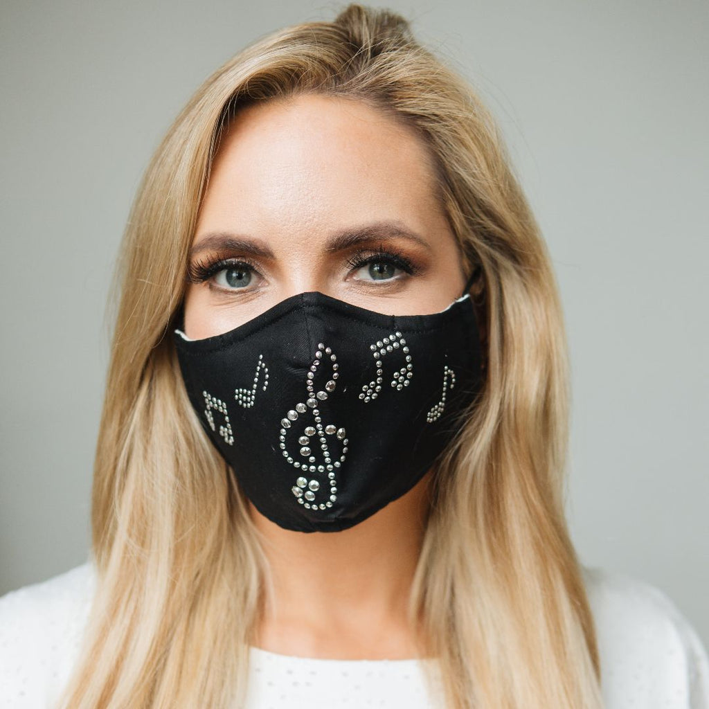Adults - Silver Musical Notes Diamante - Reusable Barrier Mask