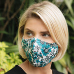 Adults - Turquoise Floral - Reusable Barrier Mask