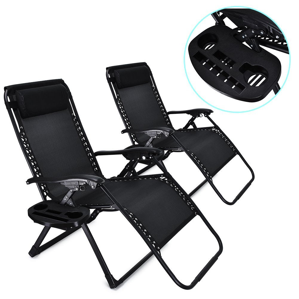 Zero Gravity Chair Oversized 2 Pack EZcheer Supports Up To 430lbs Patio  Lounge Chair XL Folding Portable Office Beach Recliner Chair With Cup Holder