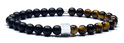 Hephaistos - Bracelet tiger eye, black mat onyx and sterling silver 925
