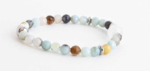Reflet d'eau Multicolor Amazonite and Rose Quartz Women Bracelet